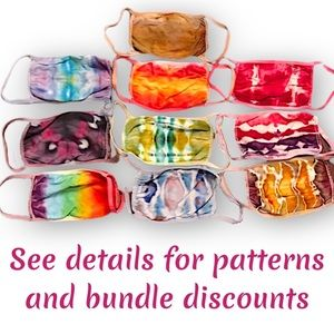 Hand tie dyed youth cotton face masks/can bundle